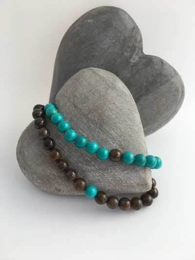 """Turquoise and Bronzite couples bracelets. """"You complete Me"""" couples bracelets make a great anniversary gift and are perfect for a couple separated by distance."""