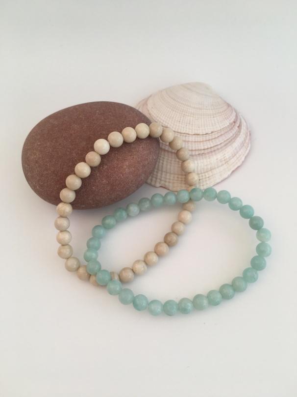 Fossil Jasper and Amazonite bracelets