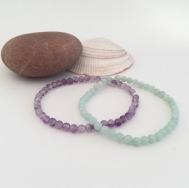 Amethyst and Amazonite bracelets