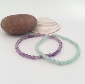 Amethyst and Amazonite bracelets
