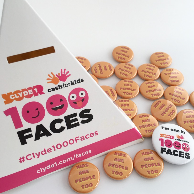 """In 2018, I will be donating all profits from the sale of my """"kids are people too"""" badges to Cash for Kids."""