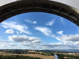 The Falkirk Wheel links the Union and the Forth and Clyde canals and replaces a system of 11 locks which used to take a day to traverse.