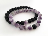 Amethyst and Lava couples bracelets, anniversary gift, You Complete Me couples gift.