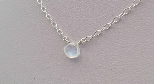 Moonstone necklace with tiny rainbow moonstone teardrop and Sterling silver chain.