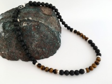 Mens Lava and Tigers eye necklace
