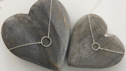 Mother and daughter Sterling silver circle necklace set