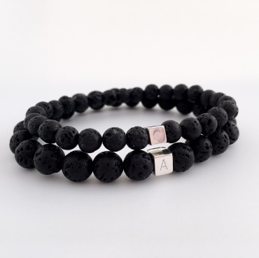 Lava couples bracelets with personalised Sterling silver cube bead.