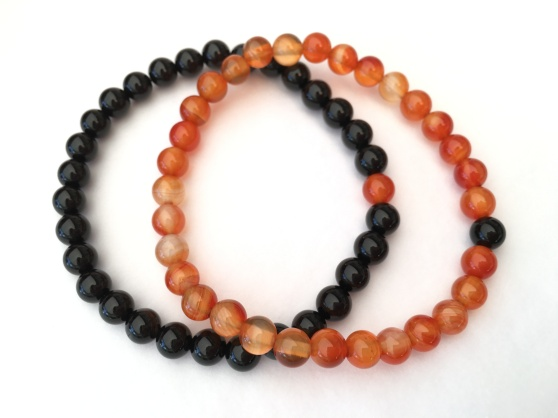 Black Onyx and Orange Carnelian couples bracelets