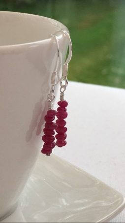 Teeny tiny Ruby earrings with Sterling silver. Available alone or as part of a set.