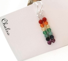 Rainbow earrings made with semiprecious stones and sterling silver.