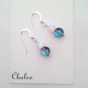 """Spring skies"" earrings. Beautiful blue and frosted quartz earrings finished with Sterling silver ear hooks."