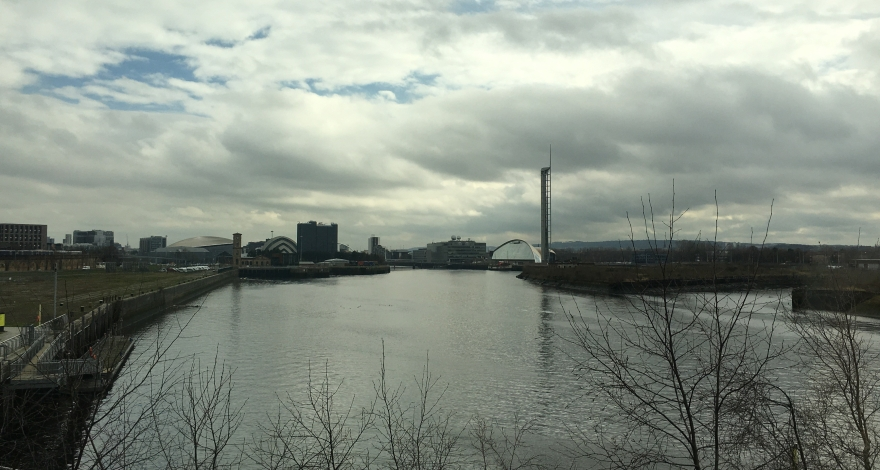 The River Clyde with the Glasgow Science Centre and SEC in the distance.