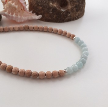 This beautiful, summery necklace is made with Rosewood, Aquamarine and Sterling silver.