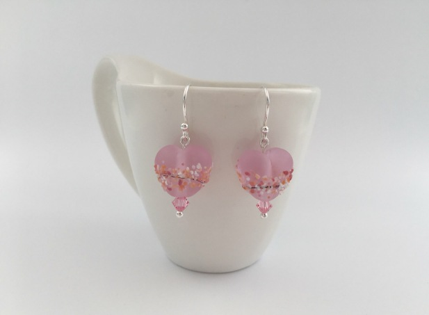 Pink Blossom Lampwork Hearts with Swarovski elements and Sterling silver. Matching pendant also available.