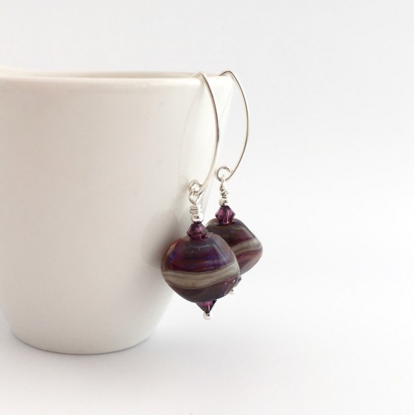 Purple lampwork earrings with Swarovski elements and Sterling silver. Similar can be made on request.