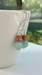 Frosted Amazonite and Rosewood earrings with Sterling silver. These beautiful summery earrings would make a lovely gift or addition to your summer wardrobe.