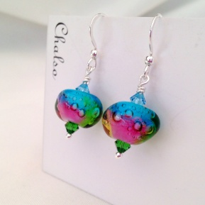 Rainbow lampwork earrings with Swarovski elements and Sterling silver.