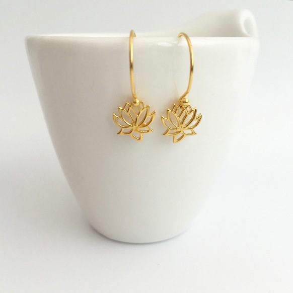 Gold lotus flower earrings