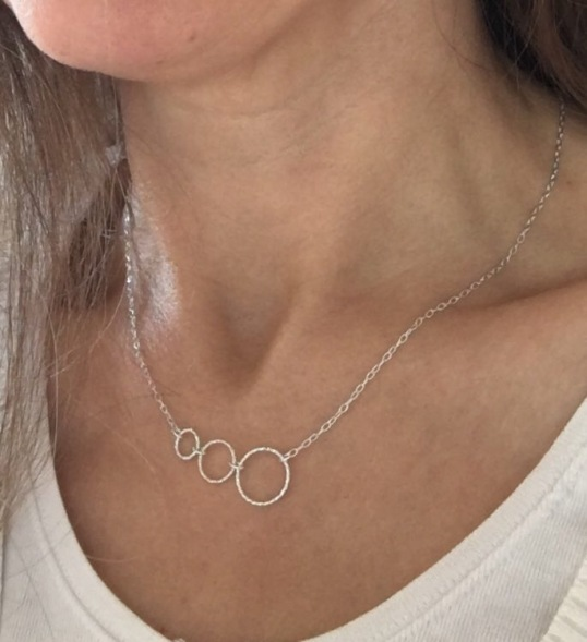 Silver Circles necklace made with three sparkly, diamond cut, Sterling silver rings and Sterling silver chain.