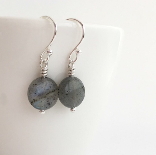 Labradorite earrings with Sterling silver.