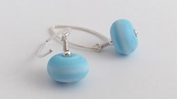 Light blue lampwork earrings with Sterling silver.