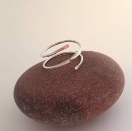 Sterling silver Spiral thumb ring. Part of the Chalso Rings Collection.