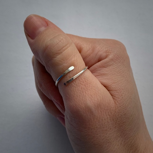 Minimalist, adjustable, Sterling silver skinny ring. Part of the Chalso Rings Collection.