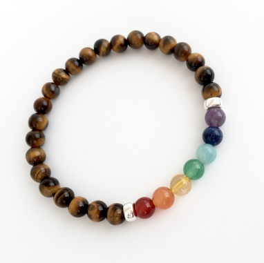 Tigers eye chakra bracelet with semi precious rainbow and Sterling silver.