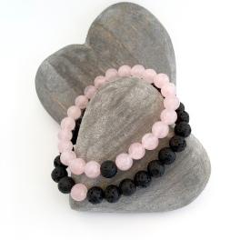 Pink Rose Quartz and black Lava couples bracelets