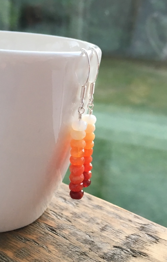 Fire Opal earrings with Sterling silver. Beautiful ombré colours from red, through orange and peach to white.