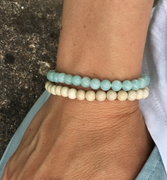 This Amazonite bracelet and Fossil stone bracelet are great for stacking and have a great tropical beach feel to them!