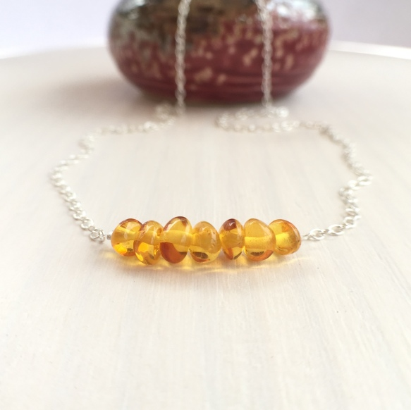 Beautiful Amber necklace with natural Amber nuggets in a light Cognac colour and Sterling silver.