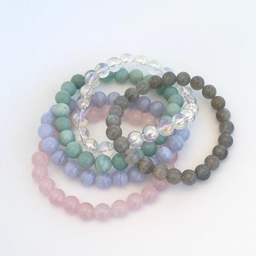 Rose Quartz, Blue Lace Agate, Amazonite, Aura Quartz and Labradorite bracelets