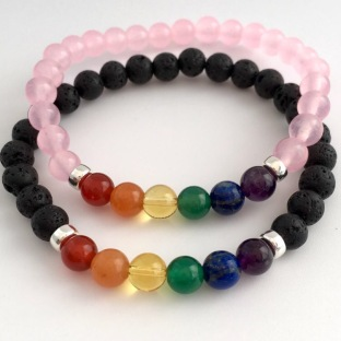 Celebrating Pride with these Rose Quartz and Lava bracelets with semiprecious stones in the colours of the Pride rainbow flag.