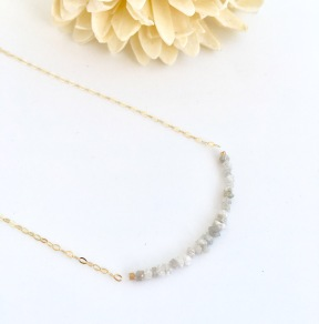 9 carat gold version of the Chalso raw Diamond necklace.