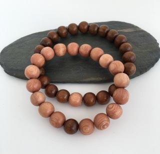 Chunky wooden couples bracelets with Rosewood and Robles wooden beads.