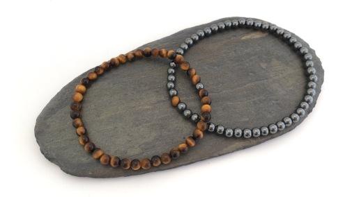 Tigers eye and Hematite couples bracelets.