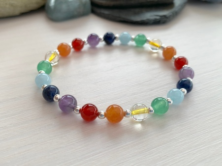Beautiful semiprecious rainbow bracelet with Sterling silver.